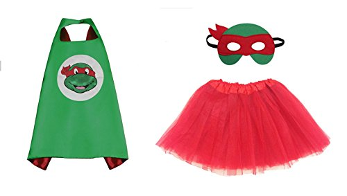 Rush Dance Kids Children's Deluxe Comics Super Hero CAPE & MASK & TUTU Costume (TMNT Raphael (Red (Cheap Ninja Costumes)