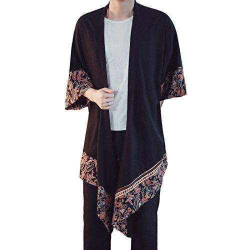 Hzcx Fashion Men's Cotton Linen Blends Vintage Cloak Open Front Coat DSA036-FY02-70-TH-US L TAG (Cotton Blend Cardigan)