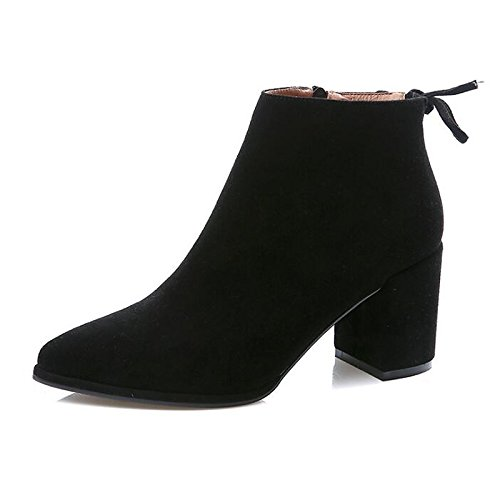 Stivali Nero Autunno HSXZ tacco Pelle donna di Babbucce Comfort Nabuck moda stivaletti Scarpe Black Grigio vacchetta abbigliamento Chunky Stivali di Inverno casual xn7fnHPrgW