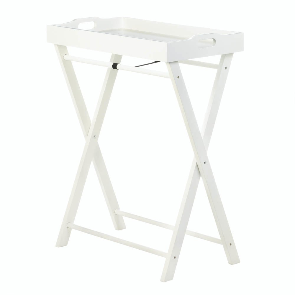 Koehler 10017987 29.25 Inch White Cozy Folding Tray Table