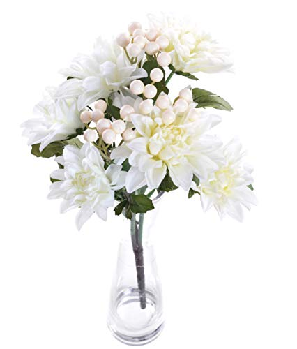 AlphaAcc Pack of 2 Beige Artificial Dahlia Flower Bouquet 3 Stems 9 Heads Big Flowers for Home Party Decorations Wedding Favors 16""