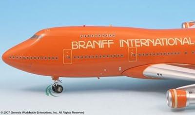 Braniff Airlines Ultra Orange BOEING 747-200 Airplane Miniature Model N602BN Diecast 1:200 Part# A012-IF742005