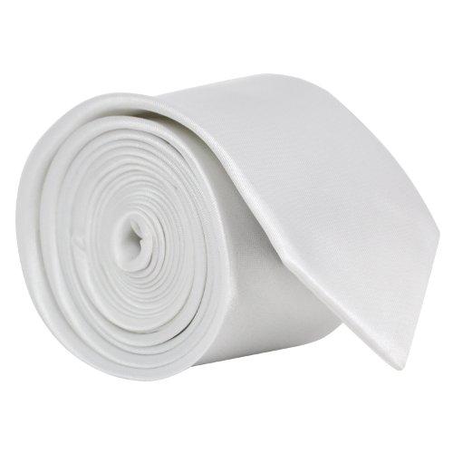 Fashion Slim Plain White TRIXES Necktie Colour Satin Tie Skinny Mens 4HqnORx