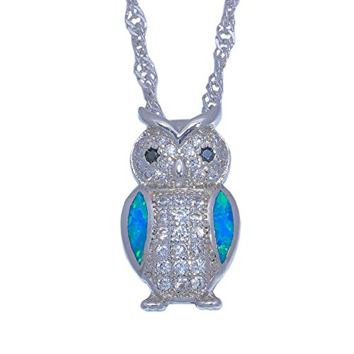 - FidgetKute Blue Fire Opal Black Onyx CZ Women Jewelry Gems Silver Pendant Necklace OD6870