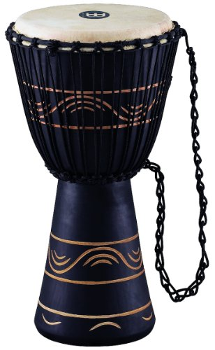 Meinl Percussion ADJ4-M+BAG African Style Rope Tuned 10-Inch Wood Djembe with Bag, Black