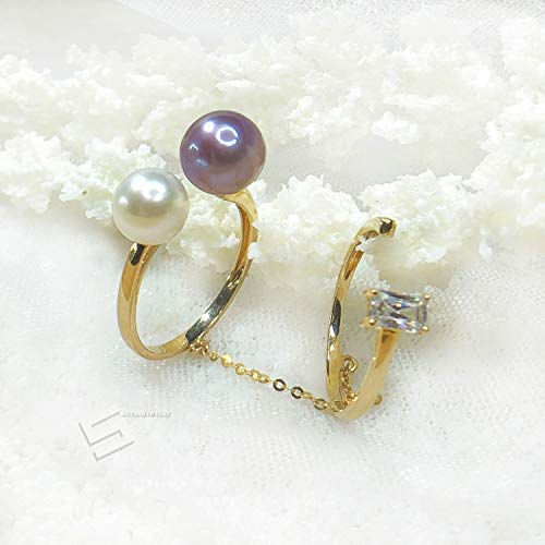 Akoya Pearl In Double Band Gold Ring, Japaness Akoya Pearl And Freshwater Cultured Pearl With 10KT Gold Ring, Pearl & Gold Jewelry ()