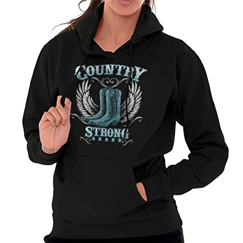 Brisco Brands Country Strong Boots Wings Cowgirl Southern Hoodie Black