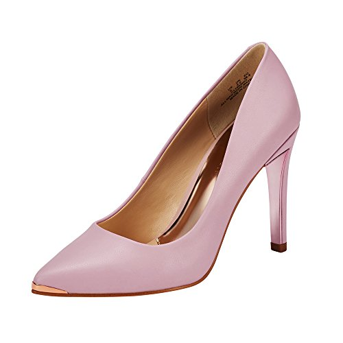 JENN ARDOR Women's Closed Pointed Toe Pumps Stiletto High Heels Office Lady Wedding Party Dress Heeded Shoes Pink 6 (9.1in)