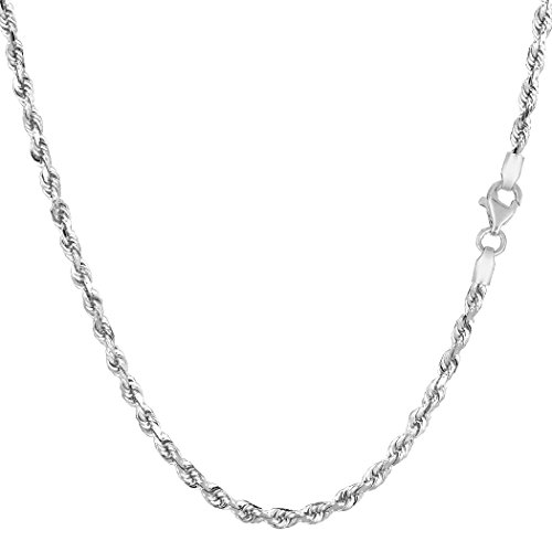 14k White Gold Solid Diamond Cut Royal Rope Chain Necklace, 2.5mm, 16