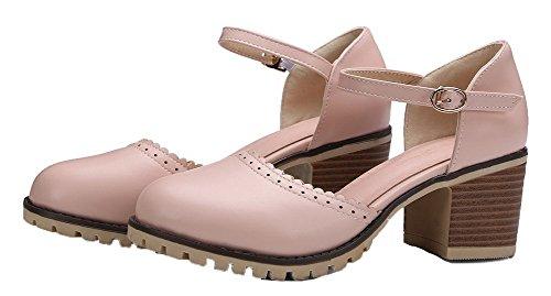 WeiPoot PU Round Kitten Pink Solid Sandals Buckle Toe Women's Heels EGHLH005584 rwFxY4rq