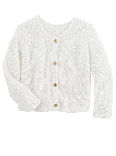 OshKosh B'Gosh© Toddler Girl Knit Cardigan Sweater, White (2T)