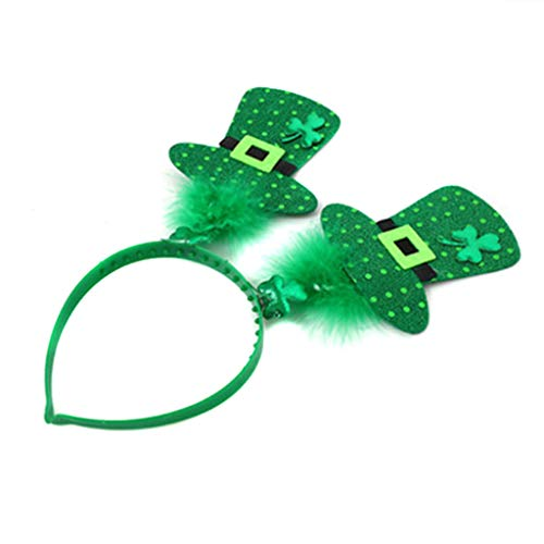 St.Patrick's Day Green Head Bopper Feathered Lucky Clover Handband Shamrock Hat Hair-Hoop Headpiece Decorations Accessories(B)
