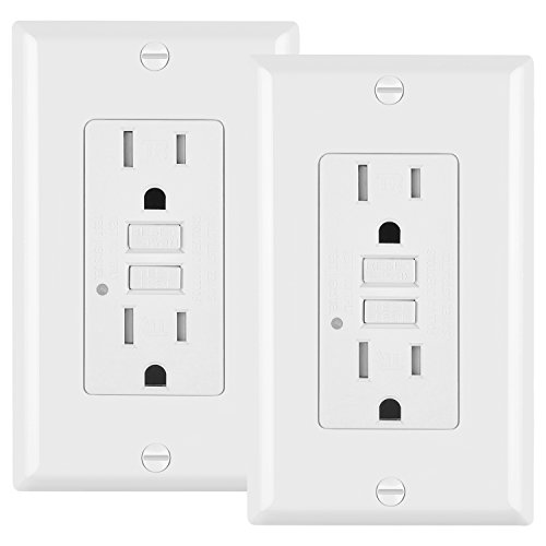 (2 Pack - ELECTECK 15A/125V Tamper Resistant GFCI Outlet, Duplex Receptacle with LED Indicator, Decorator Wall Plate and Screws Included, Residential and Commercial Grade, ETL Certified, White)