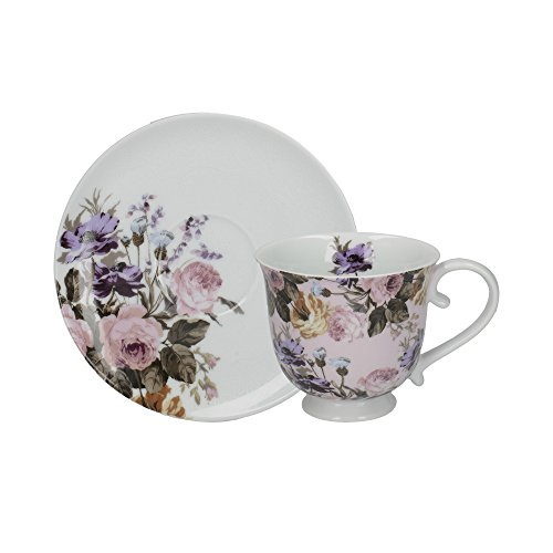Katie Alice Wild Apricity Vintage-Style Porcelain Tea Cup and Saucer Set - Pink and Purple (2 Pieces)