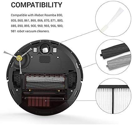 kwmobile Set de repuestos compatibles con Roomba - Series 800 y 900-3X Cepillo Lateral 3X Filtro y 2X Rodillo Central para Robot Aspirador: Amazon.es: Hogar