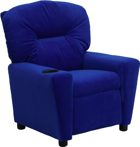Offex OF-BT-7950-KID-MIC-BLUE-GG Contemporary  Microfiber Kids Recliner with Cup Holder, Blue