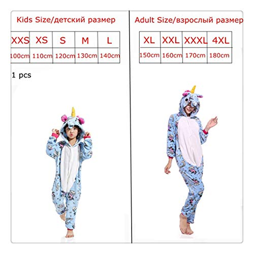 Pink Unicorn Pajamas Sets Flannel Kids Animal Pajamas Winter Nightwear Zipper Sleepwear for Women Men Adults Halloween lightblue XXXL]()