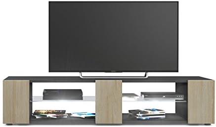Mesa para TV Lowboard Movie V2, Cuerpo en Negro Mate/Frentes en Roble áspero con iluminación LED en Blanco: Vladon: Amazon.es: Hogar