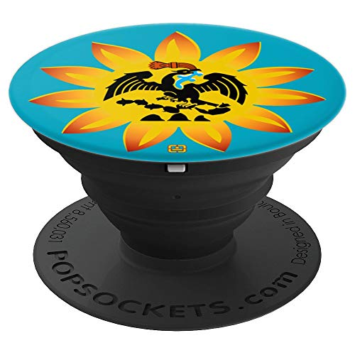 Mexica Flag - Original Native Aztec Eagle Snake Sun - PopSockets Grip and Stand for Phones and Tablets ()