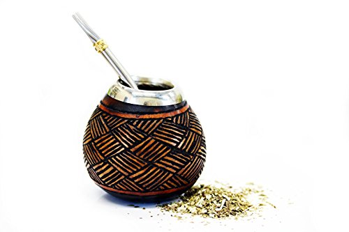 Tealyra - Hand Made Carved - Yerba Mate Gourd and Stainless Steel Bombilla Straw - Made in Argentina - Traditional Drinking Gourd - Authentic Argentinian Mate Cup (#1601)