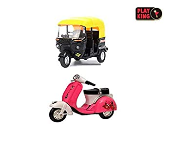 Playking Combo of Die Cast Metal Scooter & MTI Die-Cast Model Tricycle R1  Auto Rickshaw, Color May Vary