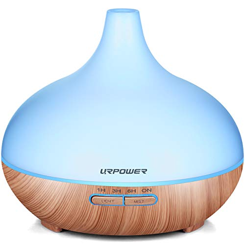 Aromatherapy Essential Oil Diffuser, URPOWER 300ml Wood Grain Ultrasonic Cool Mist Whisper-Quiet Humidifier with Color Led Lights Changing & 4 Timer Settings, Waterless Auto Shut-Off for Spa Baby (Spa Scent Diffuser)