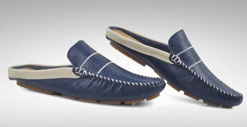 Blue Shoes on Shoes Sandals Mens Loafers HAPPYSHOP TM Beach Slippers Dark Shoes Leather Hollow Slip Out Ventilate BIPwTXxqa