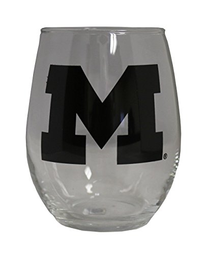 NCAA Michigan Wolverines 15 oz Stemless Wine Glass with Black Team Logo