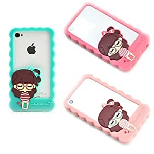 PEACH Lovely Girl Soft Silicon Soft Case for iPhone 4/4S (Assorted Colors) , Blue