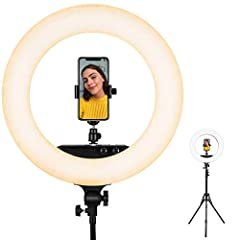 """NOTE: The camera and the smart phone in the picture are NOT includedDescriptions: Compatible with iPhone6 plus/6/5/5S, Samsung Galaxy S6 Edge/S6/S5, and other smart phones, and all cameras. LED Ring Light Dimmable Ring Light: Dimmable 18"""" LED..."""