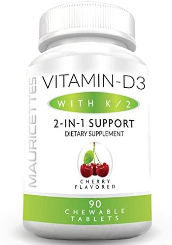 Vitamin D3 and K2 Chewable Supplement for Kids and Adults - 2000 IU Vitamin D 3 & Vitamins K MK7 - Healthy Bone and Heart Health Support - 90 Non-GMO Chewables