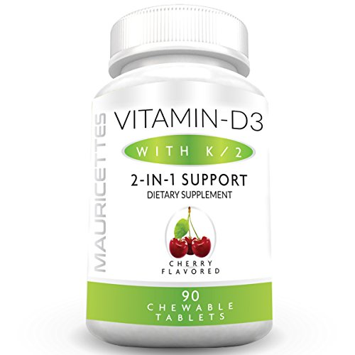 Vitamin D3 and K2 Chewable Supplement for Kids and Adults - Non-GMO - 2000 iu Vitamin D & Vitamins K MK7 - Healthy Bone and Heart Health Support
