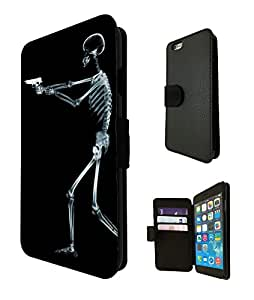 1112 - cool fun walking dead death skeleton zombie x-ray gun funny bones Design iphone 6 Plus / iphone 6 Plus 6 5.5'' Design Fashion Trend TPU Leather Flip Case Full Case Flip Credit Card TPU Leather Purse Pouch Defender Stand Cover