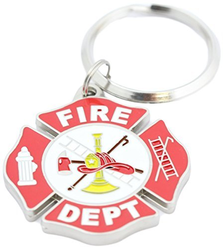 Maltese Keychain - Fire Department Key Ring Fire Dept Logo Key Chain, Gifts for Firemen Forewomen