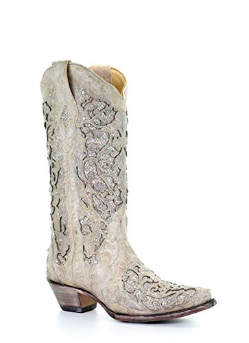 Corral Women's 14-inch Off White Glitter Inlay & Crystals Snip Toe Pull-On Cowboy (Leather Inlay Cowgirl Boots)