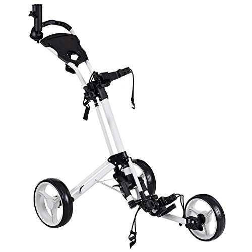 Foldable 3 Wheels Golf Pull Push Cart Trolley by Apontus