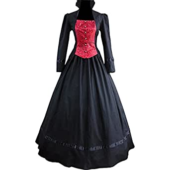 Partiss Women Single-breasted Gothic Victorian Dress X-Small,Black and Red