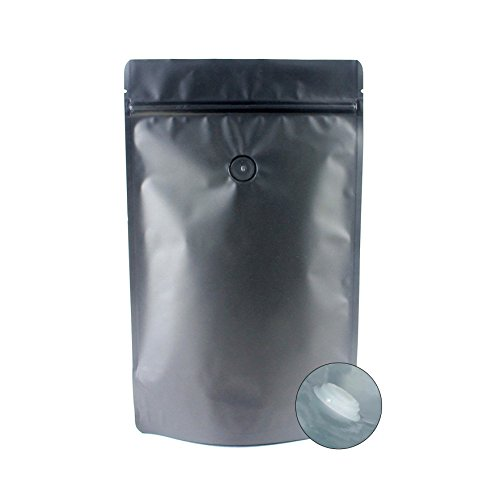 AwePackage High Barrier 16 oz Foil Stand up Zipper Pouch Coffee Bag with Valve (50, Matte (Coffee Zipper)