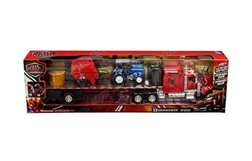 NewRay 1:32 Long Haul Trucker - Kenworth W900 Flatbed with Hay Bale Tractor