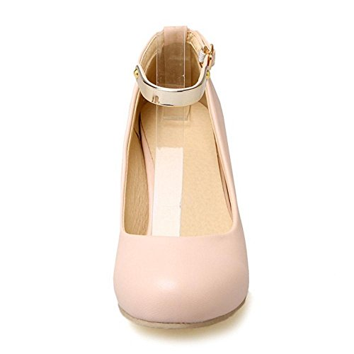 TAOFFEN Women Simple Block High Heel Platform Court Shoes With Ankle Straps 471 Pink oMKsvn
