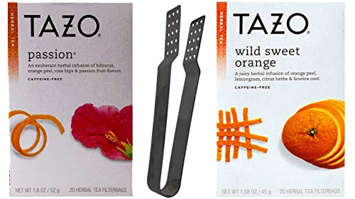(Tazo Herbal Tea 2 Flavor Variety with Teabag Squeezer Bundle, (1) each: Passion, Wild Sweet Orange (20 Count Boxes))