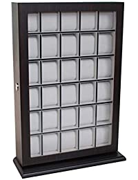 30 Piece Ebony Wood Watch Display Wall Hanging Case and Storage Organizer Box and Stand