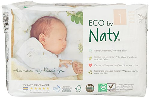 Naty by Nature Babycare Eco-Friendly Diapers, Size 1, 4 packs of 26 (104 Count)