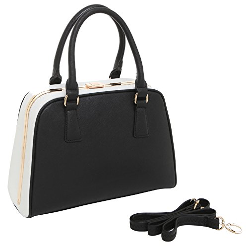MG Collection Black & White Doctor Style Shoulder Purse / Structured Tote Bag