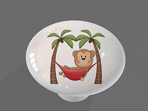 Monkey Knob (Hammock Palm Monkey High Gloss Ceramic Drawer Knob)
