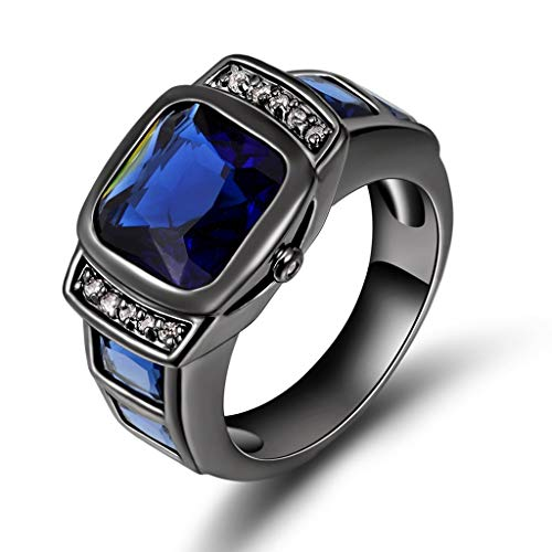Huanhuan Jewelry Black Gold Plated Fashion Comfort Fit Wedding Band Rings for Womens Mens Unisex Blue Sapphire with Classic Square Cubic Zirconia Size 7 to 13