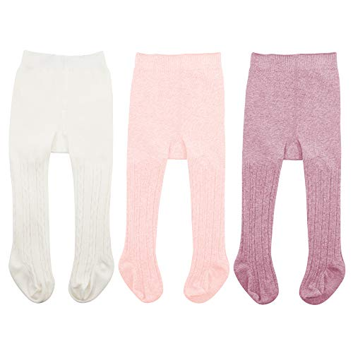 Zando Baby Girls Tights Soft Cable Knit Cotton Leggings For Baby Big Girls Toddler Seamless Socks Infant Pants Stockings White & Ballet Pink & Purple M/6-12 Month