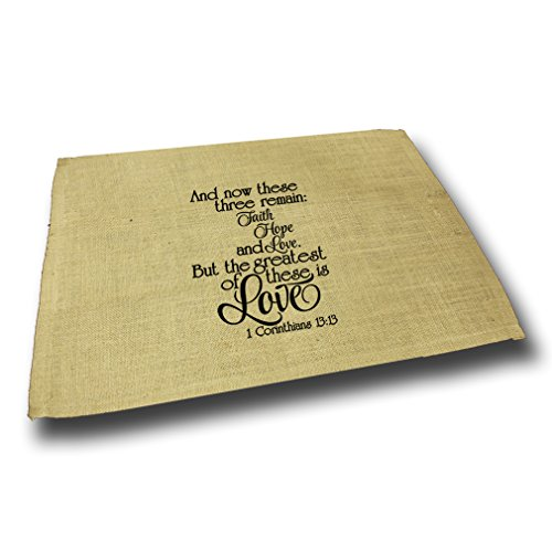 Style in Print And Now These Three Remain Faith Hope Love Jute Burlap Placemat by Style in Print
