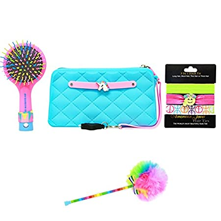 Hair Ties American Jewel Glow in the Dark Fun Set with Silicone Wristlet Brush and Pen Accessory
