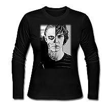 Women Evan Peters Skull AHS ROANOKE Poster Tshirt Long Sleeve